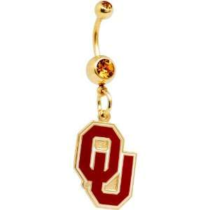 Oklahoma SOONERS Double Crystalline Gem Belly Ring