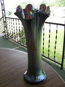ANTIQUE NORTHWOOD AMETHYST FINE RIB CARNIVAL GLASS 10 1/2 VASE