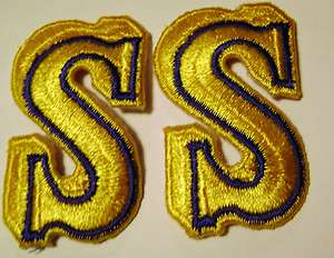 Yellow and Blue Base Ball MLB SEATTLE MARINERS PATCHES Lot OF 2