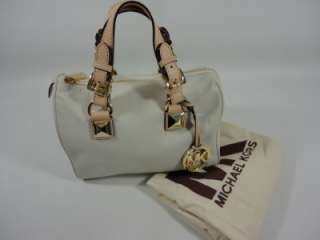KORS GRAYSON Vanilla White Natural LEATHER Small SATCHEL Barrel BAG