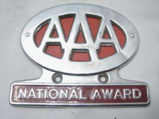 AAA NATIONAL AWARD TRUNK BADGE EMBLEM AUTO CAR PLATE TOPPER