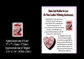 3RD WEDDING ANNIVERSARY SISTER & BROTHER IN LAW CARD & MAGNET GIFT