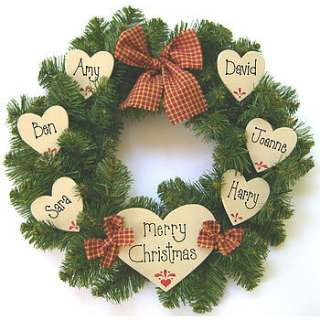 personalised christmas wreath by country heart