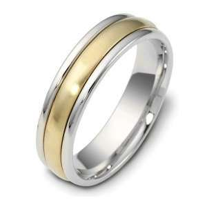 5mm 14 Karat Two Tone Gold Designer SPINNING Wedding Band