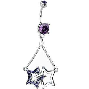 Dual Star Tanzanite Cubic Zirconia Dangle Chain Belly Ring Jewelry