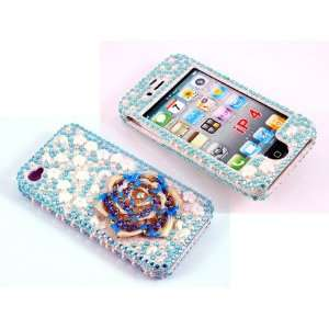 Smile Case 3D Blue Flower Bling Rhinestone Pearl Crystal Jeweled Snap