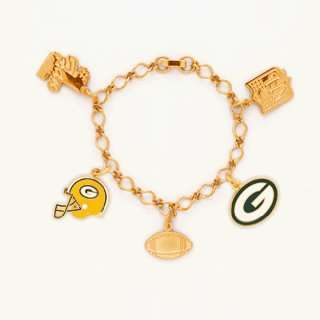 Green Bay Packers Gold Tone NFL Charm Bracelet