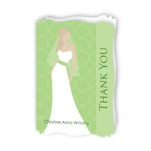 Bridal Silhouette Green   Personalized Bridal Shower Thank You Cards