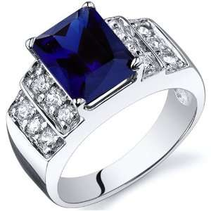 Radiant Cut 3.00 carats Blue Sapphire Cubic Zirconia Ring in Sterling