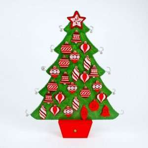 WOOD TINSEL CHRISTMAS TREE ADVENT CALENDAR 25 Table Top