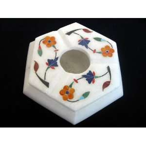 Marble Hexagonal Ashtray With Colorful Carvings   02