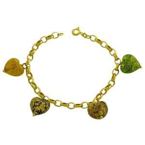 Karat Yellow Gold Murano Glass Heart Charm Bracelet (7 Inch) Jewelry