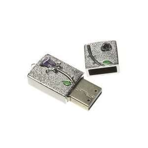 4GB Emboss Rose Jewellery Shaped USB Flash Drive Silver