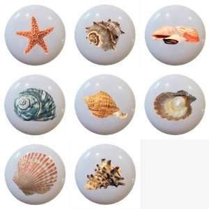 Set of 8 Sea Shell Design Ceramic Knobs Pull Kitchen Drawer Cabinet