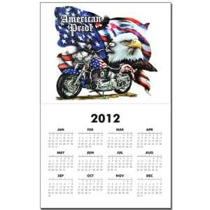 Calendar Print w Current Year American Pride US Flag Motorcycle and