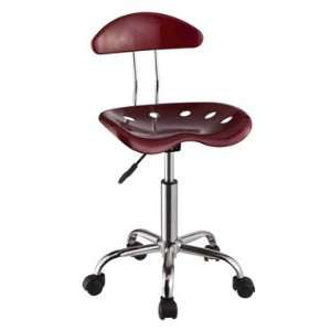 Dark Red and Chrome Adjustable Height Rolling Chair Set of