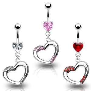 316L Prong Set Heart Belly Ring with Red Gem Paved Heart Dangle   14G