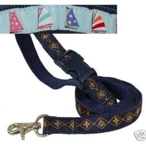 Paquette Nylon Dog Lead SAILBOATS BLU 5/8 X 5