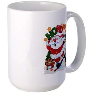 Large Mug Coffee Drink Cup Merry Christmas Santa Claus Skiing Ho Ho Ho