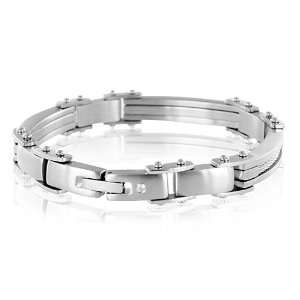 Mens Stainless Steel Twisted Cable Diamond Bracelet (G