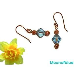 Stylish Earrings with Blue Swarovski Crystal   14K Gold