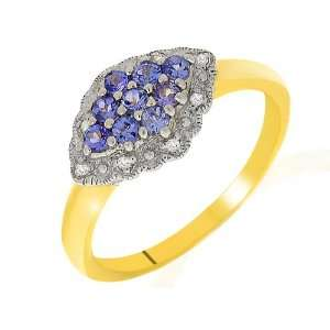 9ct Yellow Gold Tanzanite & Diamond Ring Size 9 Jewelry