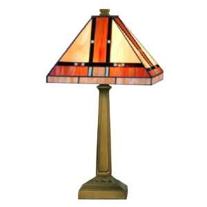 Tiffany TT10090 Mission Table Lamp, Mica Bronze and Art Glass Shade