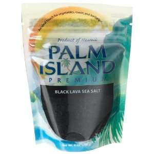Palm Island Premium Black Lava Sea Salt, 6 Ounce Pouch (Pack of 6