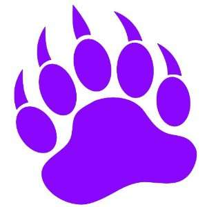 GRIZZLY BEAR PAW PRINT   Vinyl Decal Sticker 5 PURPLE Automotive