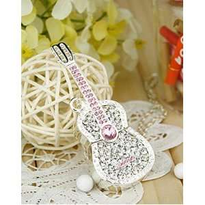 Shiny Crystal Diamond Guitar USB Flash Drive with Necklace