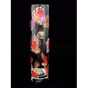 Hearts of Fire Design   Hand Painted   Glass Bud Vase   7