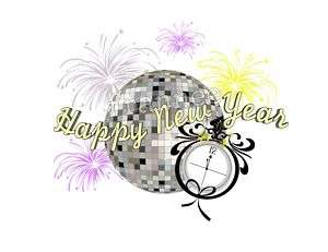 HAPPY NEW YEAR DISCO BALL EDIBLE CAKE DECORATION