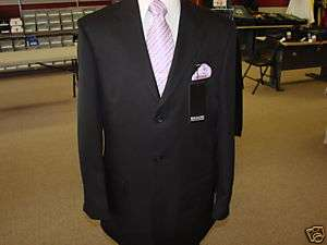 Mens Three Button Traditional Black Suit in sizes 52R