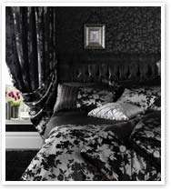 Black Grey Silver Floral Faux Silk / Satin Bedding